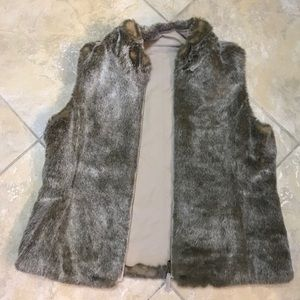 Taupe faux fur reversible vest